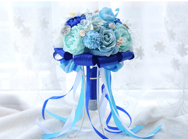 Ocean Blue 2019 New Bridal Wedding Bouquet Artificial Silk Rose Flowers Beach Bride Marriage Bridesmaid Handholds Bling Starfish Beach
