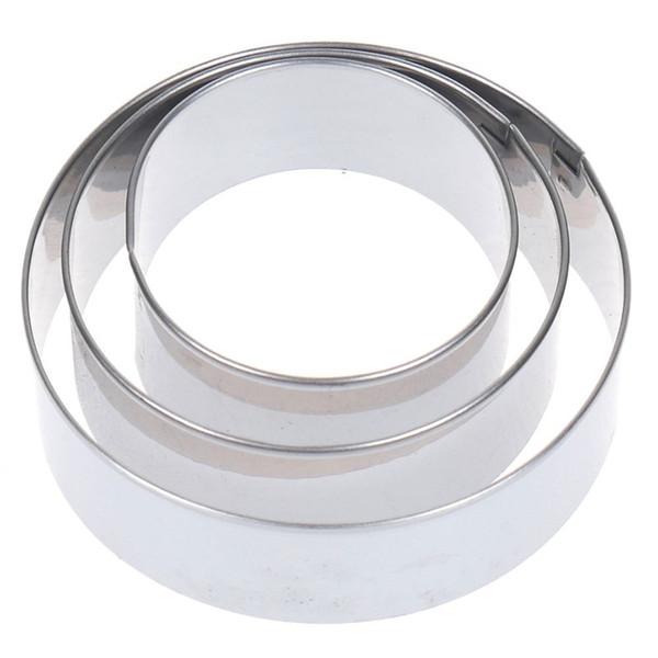 3Pcs regolabile rotonda in acciaio inossidabile del biscotto della torta della taglierina Anello pasticceria muffe Budino di pane affettatrice fai da te torta di cottura
