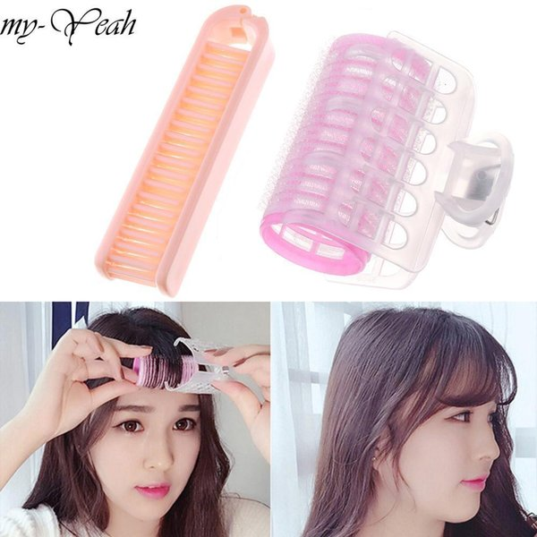 2pc/set Professional Hairdressing Tool Portable Straight Hair Comb+air Bangs Hair Roller Diy Curler Fluffy Clamps Rollers Fluffy