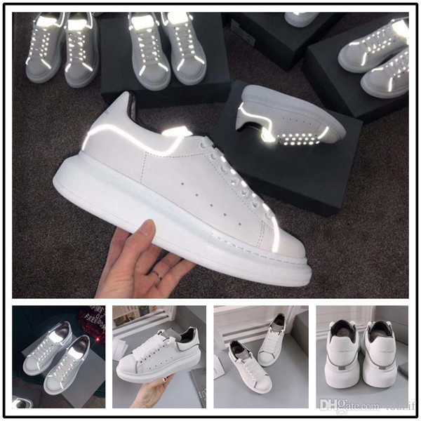 19ss Designer Luxury 3M reflective white black leather casual shoes for girl women men pink gold red fashion comfortable flat sneakers