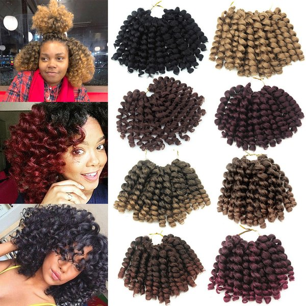 3Pcs/Lot 8inch Ombre Jumpy Wand Curl Crochet Braids 20 Roots Jamaican Bounce Synthetic Crochet Hair Extension for Black Women
