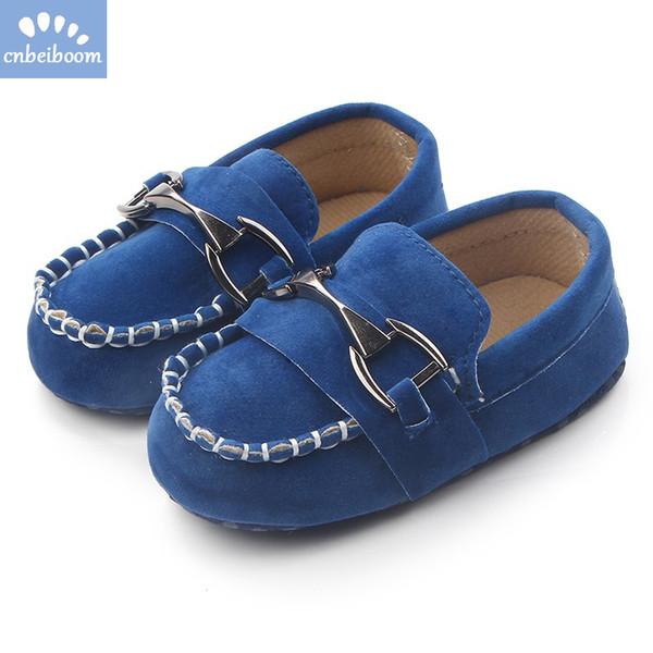 Neugeborenes Baby Jungen Schuhe Mokassins Leder Kleinkind Schuhe Junge Erste Wanderer Casual Für 0-18 M Metallschnalle Müßiggänger Prewalker