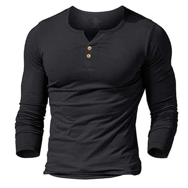 MUSCLE ALIVE men's henley tshirt fitted dress sleeve shirt for men fitted shirts cotton casual bodybuilding fitness t-shirt