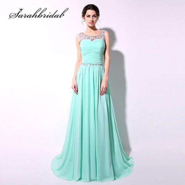 Günstige Mint Lange Abendkleider Günstige Auf Lager Perlen Kristalle Bodenlangen Chiffon Lace Up Zurück Sash Prom Party Kleider SD184