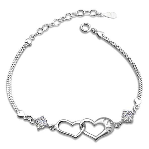 Double Heart Charm Bracelet Rose Gold Pulsera Jewelry Armbanden Bijoux Femme Bridesmaid Gifts Plated Silver Chain Bracelet