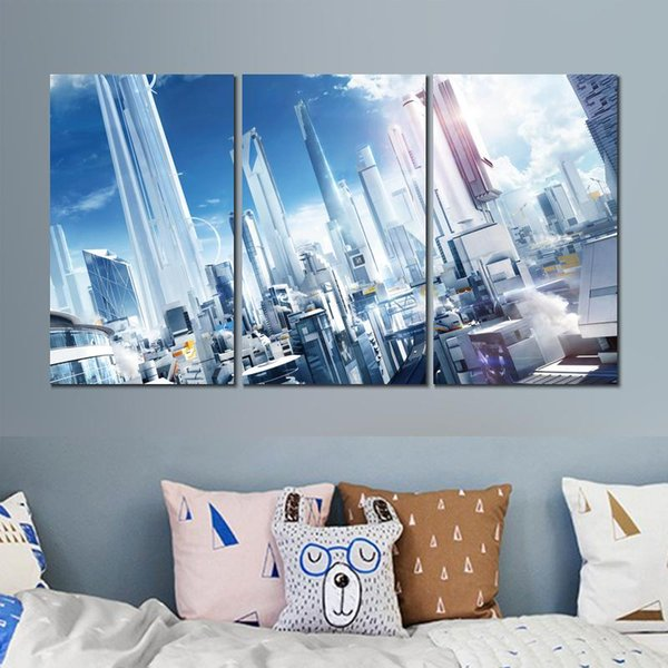 mirrors edge city of glass view 3 sets canvas print painting wall pictures for room decor