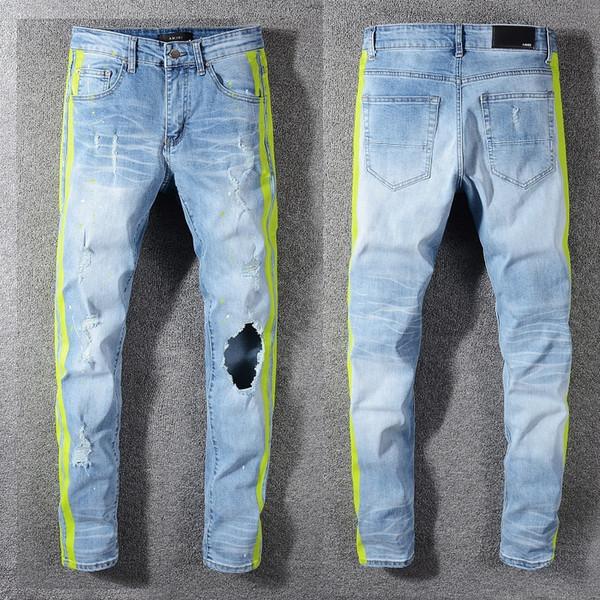 Marka Kot Giyim Tasarımcısı Pantolon Ripped Erkekler Hip Hop Kot Asker Erkek Denim Biker Mavi Büyük Delik Motosiklet Kot