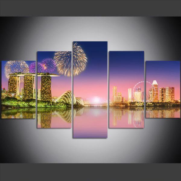 5 Peça Grande Tamanho Da Arte Da Parede Da Lona Fotos Criativas Cingapura Cidade Night View Pintura A Óleo da Cópia Da Arte para Sala de estar