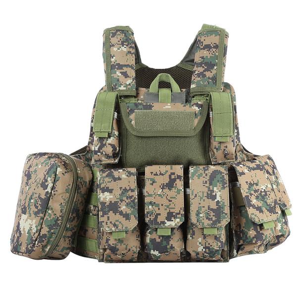 Jagd Tactical Weste mit vielen Taschen Molle Plate Carrier für Herren Jagd schwarz Camouflage Weste