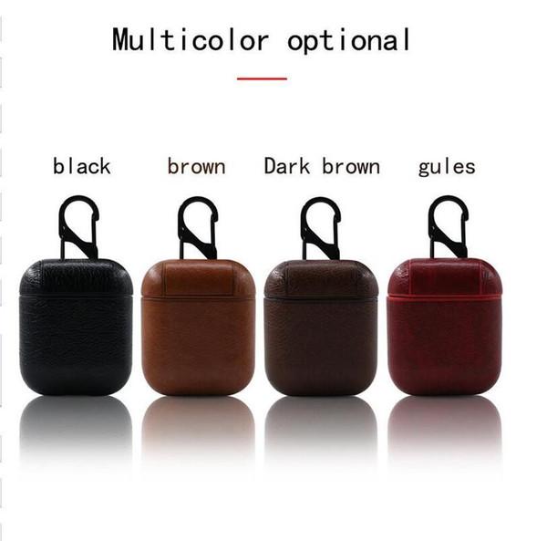 Leder-Kasten für Airpods PU + PC Abdeckung Kästen für Air Pods Bluetooth Earpods Kopfhörer Leder Haken-Haken-Schlüsselanhänger Schutzhülle