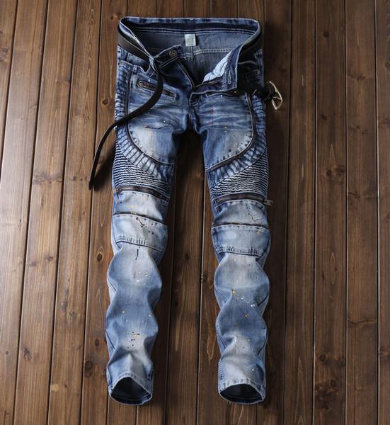2019 men's designer personality blue distressed jeans knee torn patch motorcycle bike jeans rock street color stripe splash men's trousers