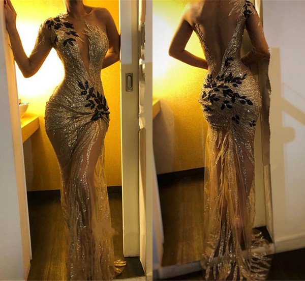 2019 Sexy Mermaid Prom Dresses DSheer Jewel Neck Lace Beads Glitter High Side Split Evening Dress Sweep Train Backless Party Gowns
