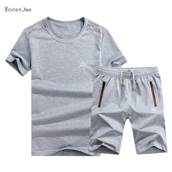 Мужские спортивные костюмы лето белье короткий набор мужчины футболка мужчины дышащий повседневная пляжный набор Большой размер M-6XL 2019 футболка костюм мода хлопок костюм