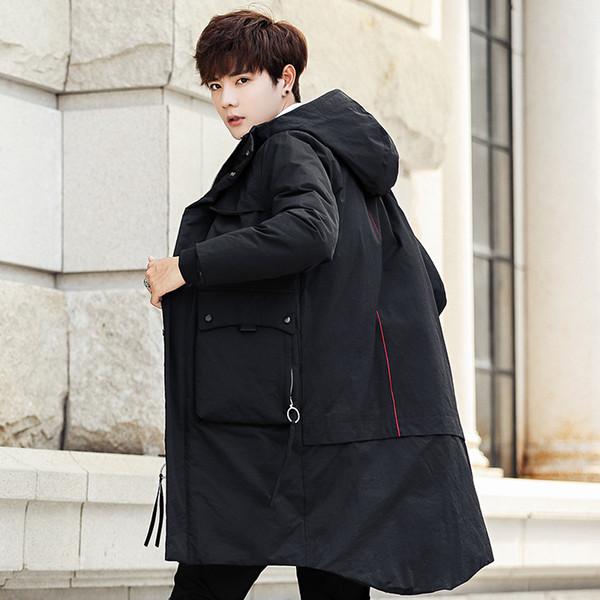 Mens capuche long canard bas vestes rembourrées homme épais hiver duvet manteaux mode masculine pardessus garder au chaud survêtement AM6815