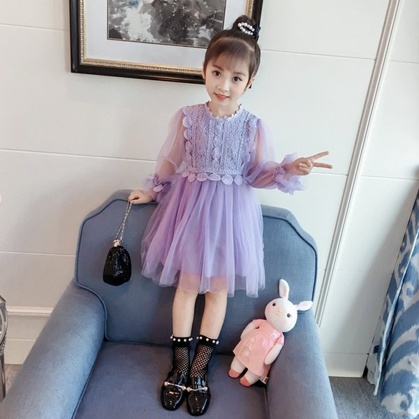 Baby girls mesh lace princess skirts long sleeve veil kids tutu skirt children boutques clothes purple and pink color