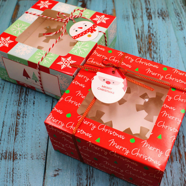 2019 Christmas Cupcake Paper Box Merry Christmas Square Muffin Cup Cake Boxes Gift Packaging Party Supplies