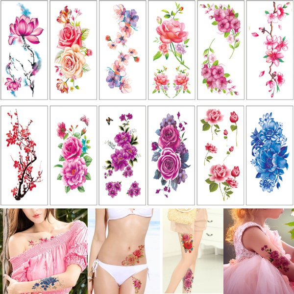 9*19cm TBX Sexy Body Flower Temporary Tattoo Sticker Designs for Women Girls Waterproof Pink Rose Peony Tattoo Words Decal Beach Party Gifts