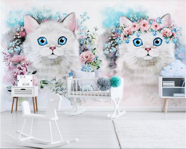 Compre Cartoon Cat Wallpaper Papel Pintado Decorativo Papel De Parede Papel Tapiz 3d Nordic Minimalista Flor Decoración De La Habitación De Los Niños