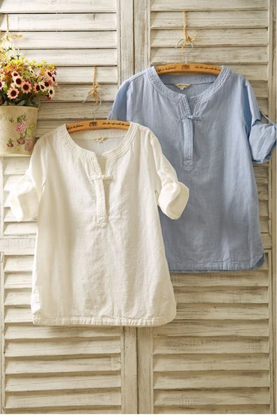 top popular 2019 spring and summer cotton and linen women's shirt seven-point sleeves linen buckle long-sleeved loose national wind short-sleeved T-shir 2019