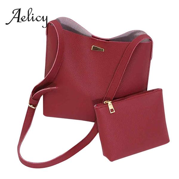Aelicy Female 2pcs Tote Satchel Women Crossbody Bag Simple Handbag Large Capicity Single Shoulder Bucket Bag + Clutch 1Set