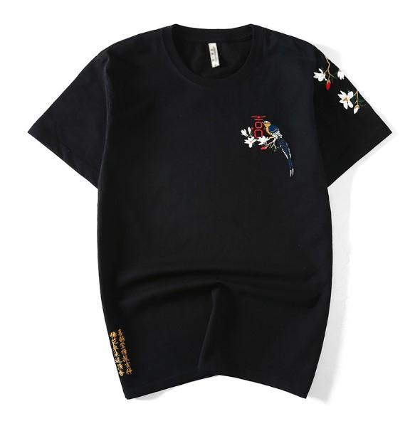 Männer 2019 große t-shirt Chinesischen stil Elster stickerei männer t-shirt paare baumwollhemd herren kleidung damen kleidung sommer tops