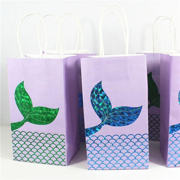 Sirène Hot Stamping Tote Bag Sac Cadeau De Mariage Paquet Sac Bonbons Gâteau Sac À Main Kraft Papier Vert Bleu 1 2gh C1