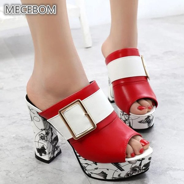 813221752596e Spring Women Leather High Heel Pumps Ladies Mules Ethnic Flower Floral  Wedges Party Shoes Platform Open