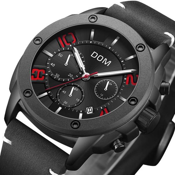 Reloje orologi da uomo di lusso DOM uomo in pelle automatica Datejust orologi al quarzo 45mm Orologio sportivo impermeabile da uomo di marca
