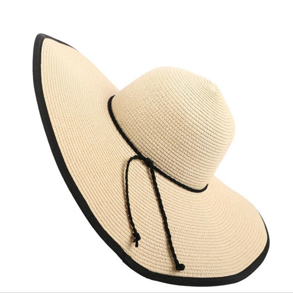 Women Simple Wide Brim Hats Holiday Beach Sunscree Straw Hats Lady Brand Charm Foldable Hats Personality Design Trendy Girls Hat