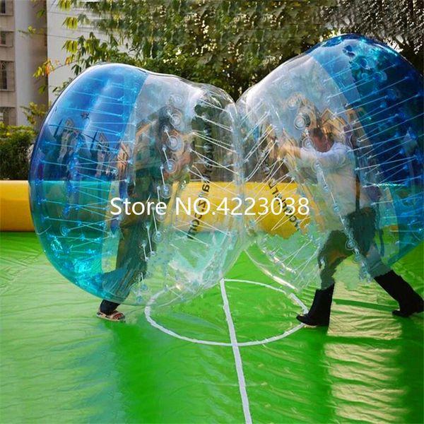 Envío gratis Dia 1.5 m PVC burbuja balón de fútbol para adultos Bubble Football parachoques inflable humano Hamster Ball Zorb Ball Suit