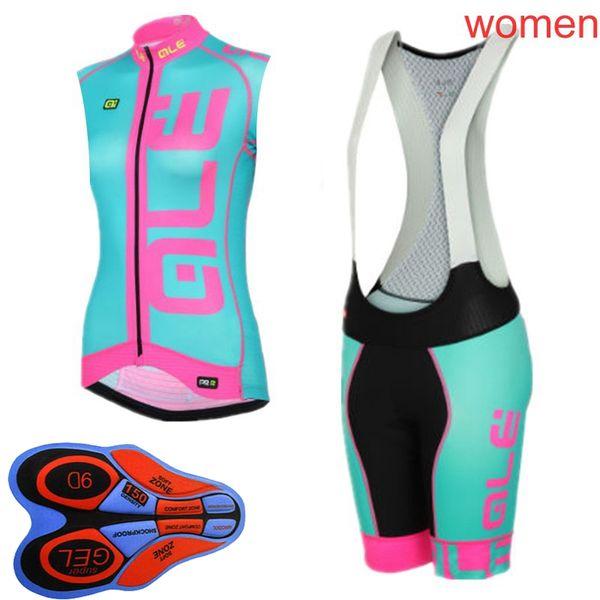 Neue 2019 ALE Frauen Pro Team Radfahren Sleeveless Jersey Weste 9D Trägerhose Sets Heiße neue Kleidung Quick-Dry Fahrrad Sportswear K082713