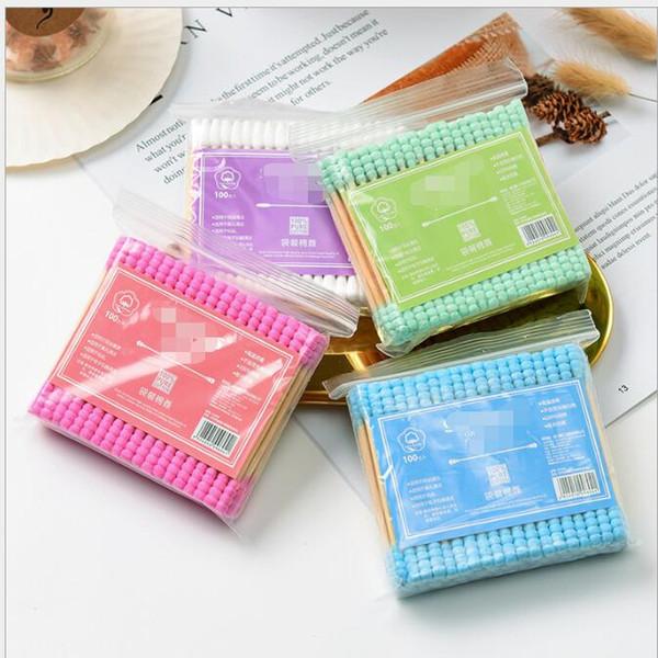 Botões de algodão colorido 100 pçs / lote para make up removedor com cabeças duplas Médica Varas De Madeira Ouvido Nariz Limpeza Cuidados de Saúde