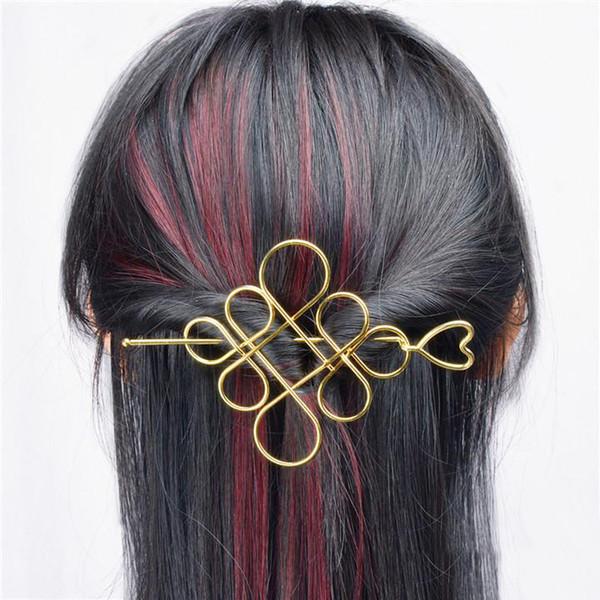Accesorios para el cabello de moda Clásico Corazón Horquilla Nudo Chino Flor Hollow Sticks Clips para Las Mujeres Joyería