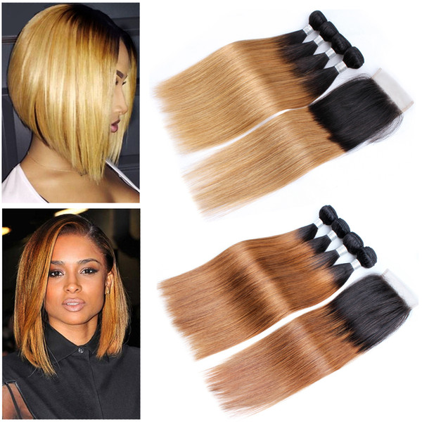 Kiss Hair 1B 27 Honey Blonde 1B 30 Straight Ombre Human Hair Weave 3/4 Bundles with Lace Closure Brazilian Virgin Hair