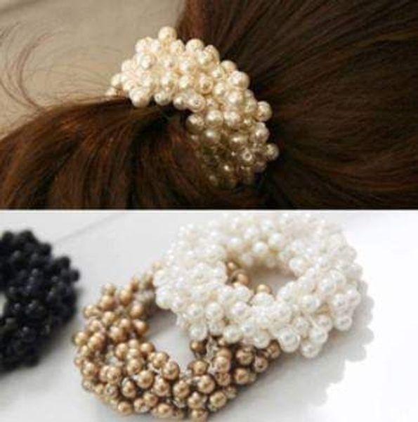 NUEVO Elástico Perla de Imitación Del Pelo Banda de Goma Cuerda Con Cuentas Anillo de Pelo de Múltiples Capas Hairband Accesorios Elegantes Color Al Azar