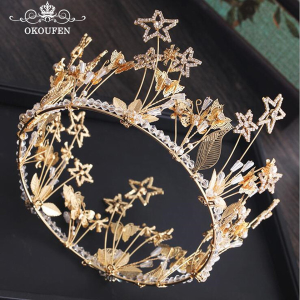 Luxury Gold Alloy Round Crowns and Tiaras Wedding Pageant Hair Jewelry Crystal Beads Butterfly Baroque Bridal Accessories