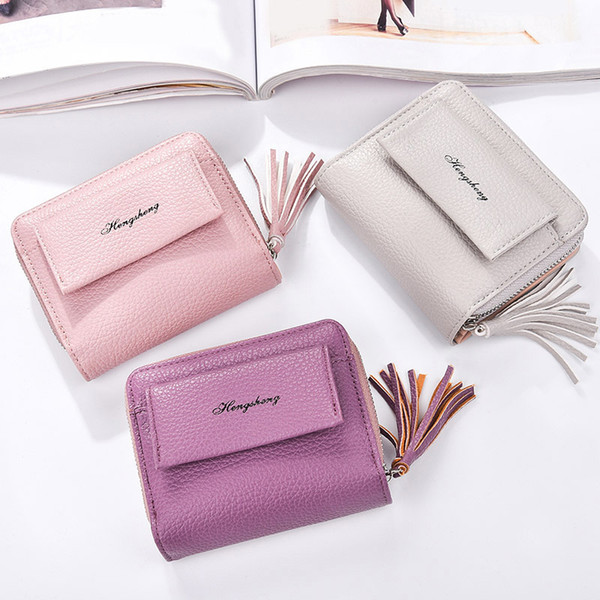 Lady Short Fringe Zippered Buckle Two-fold Litchi Pattern Small Wallet Hand Bag good quality Women Bag