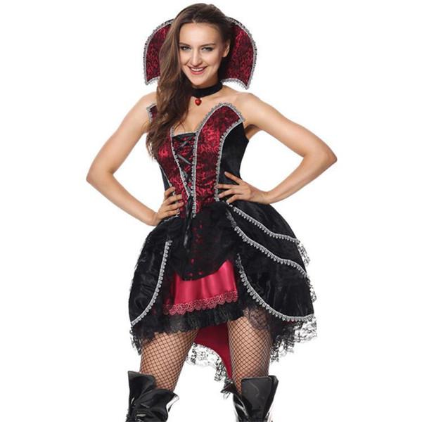 Cos сексуальная вампир королева взрослых одеваются костюм хэллоуин карнавальный костюм ночной клуб реалити-шоу костюм