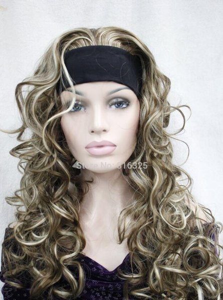 WIG Wholesale price FREE P&P>>Cute 3/4 wig with headband blond mix brown curly womens long half wigs