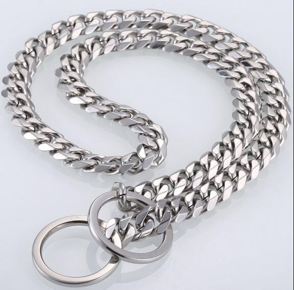 12-28 inch huge heavy pure stainless steel choose Pet Dog Collars Choke silver Cuban curb link Chain Dog Necklace Steel Cool Lock 15mm