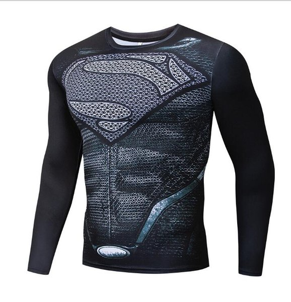 Fitness Quick-drying Tops Sports Man Super Superman Turtleneck T-Shirt Long Sleeve