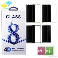 9H 3d Curved Side Full Cover Tempered Glass Screen Protector with Retail package For Samsung S6 edge plus S7 Edge S8 plus Note 8 9