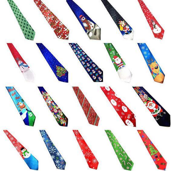 Christmas Neck Tie For Santa Claus Snowman Reindeer Christmas Tree New Men Women Print Party Dress Up Tie Xmas Decoration 28 Styles