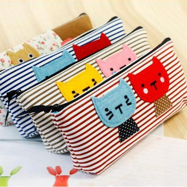 Wholesale- Cute Cartoon Cat Pattern Stripes Pen Cosmetic Bags Stationery Pouch Canvas Makeup Brush Cases