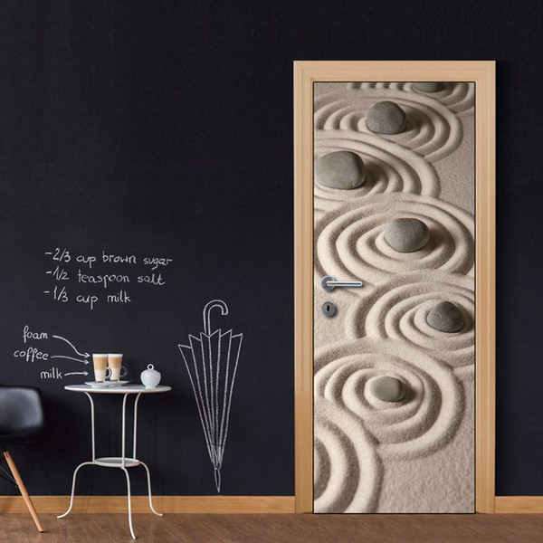 Wholesales Custom Door Mural Zen Stones door decals decorations for Kid's Bedroom Living Room wallpapers Stickers Decal