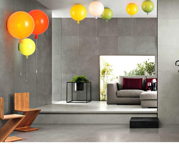 Pendentif acrylique moderne s'allume blanc / vert / bleu / orange / rouge / bleu Dia20 / 25 / 30cm chambre Hanglamp E27 Loft Decor lampe suspendue