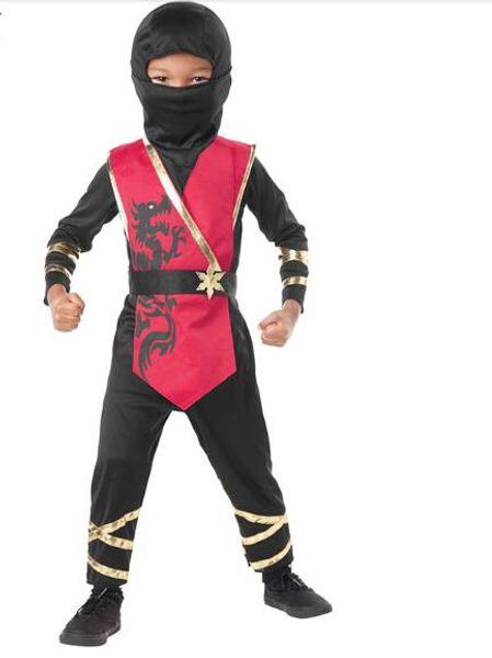 kid's black hooded ninja costume print assassin cosplay fancy suit halloween masquerade party boys japanese warriors clothing