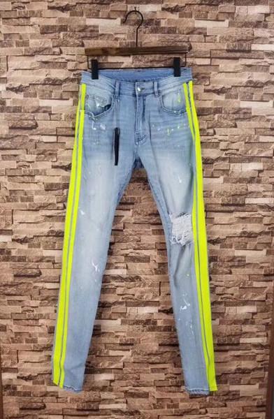 Homens Pintor Quebrado Stretchy skinny amarelo Track Jeans afligido lt azul jeans