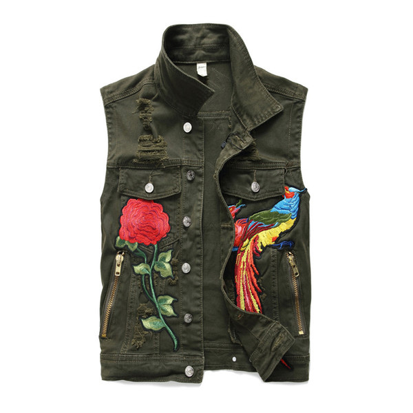 Mens Cool Denim Jeans Floral Embroidery Biker Vest Sleeveless Motorcycle Slim Jacket Casual Coat Stand Collar Zipper Army Green