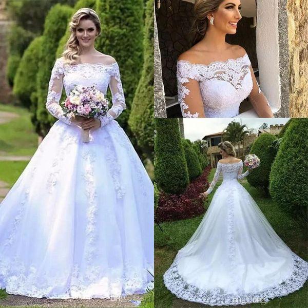 2019 Elegante Lange Ärmel Spitze A Line Brautkleider Bateau Hals Tüll Applique Perlen Gericht Zug Hochzeit Brautkleider